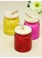 Mizzy Home 3 Adet Bambu Kapaklı Renkli Cam Kavanoz Renkli